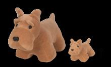 Cachorro Schnauzer com 1 filhote - Animais de Pelúcia Grávidos - Bichos de pano