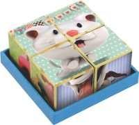 Coleção Cubos de madeira Gatinho, Cachorro e Porquinho - New Art Toys