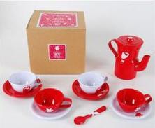 Caixa com 1 Cafeteira + 4 Xícaras + 4 Colheres Vermelho - A de Aurélia