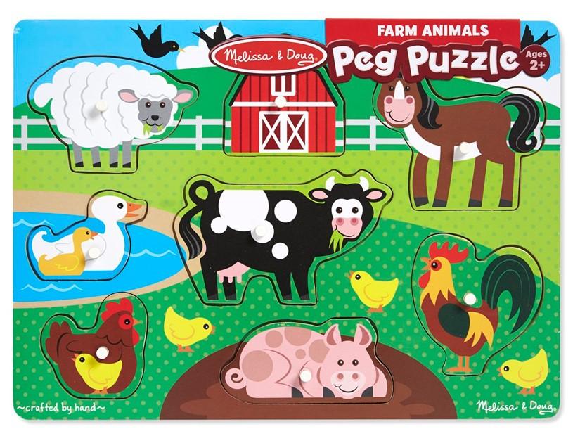 Quebra Cabeça com Pinos - Animais da Fazenda - Melissa & Doug
