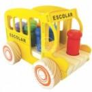 Carrinho de Madeira - Bondinho Escolar - New Art Toys
