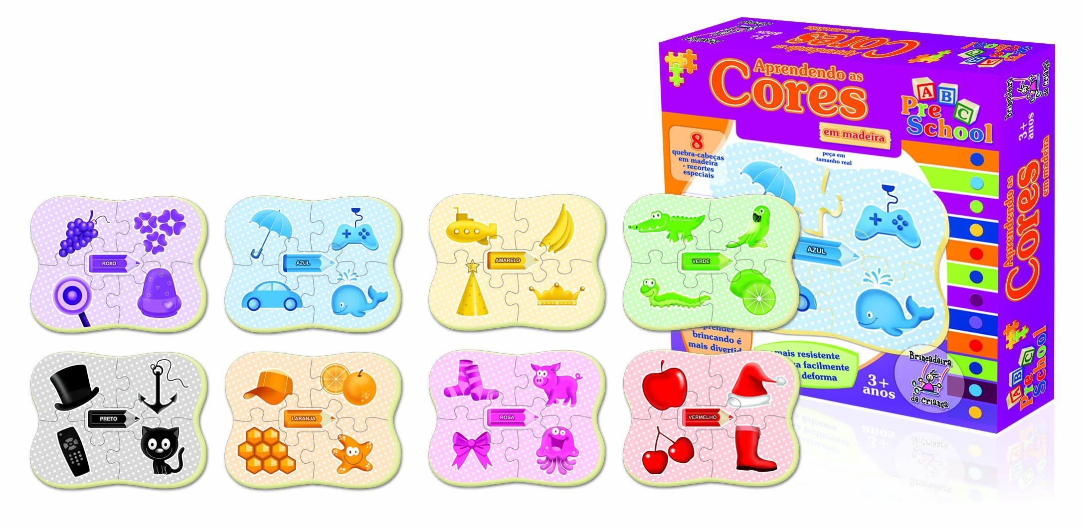 Aprendendo as Cores - 8 Quebra-Cabeças em Madeira - Brincadeira de Criança