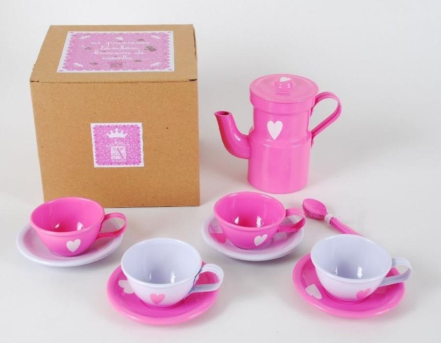Caixa com 1 Cafeteira + 4 Xícaras + 4 Colheres - Rosa e Pink - A de Aurélia