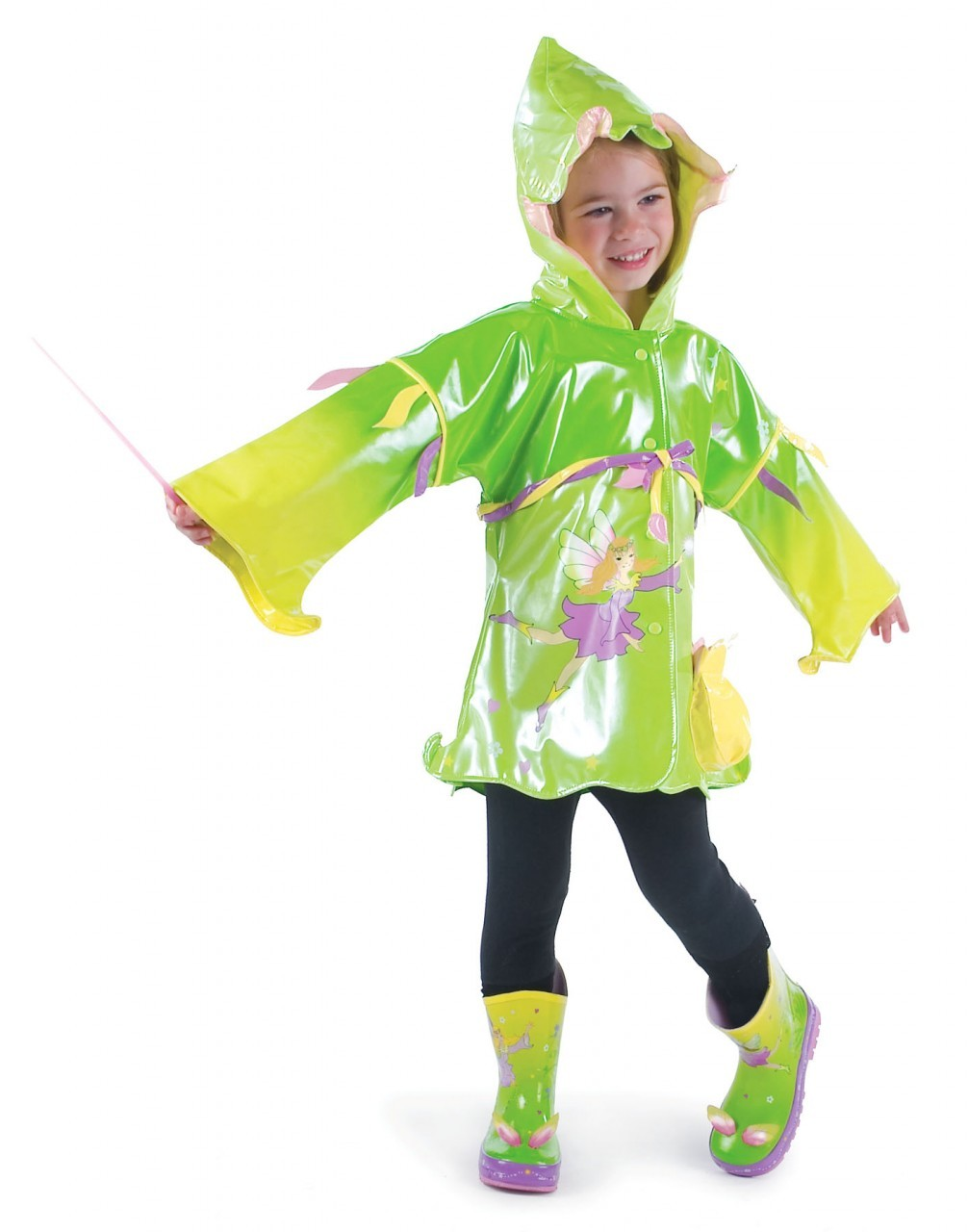 Capa de chuva Fada Verde Kidorable, tamanho 7