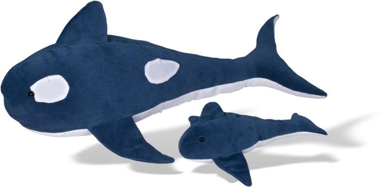 Baleia Orca com filhote - Animais de Pelúcia Grávidos - Bichos de pano
