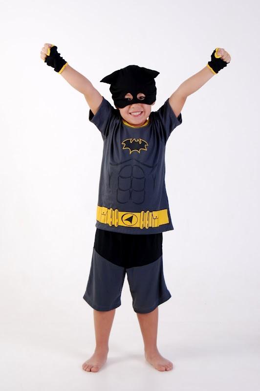 Pijama Super Heroi Cinza Amarelo, Batman - 8 anos - Lé com Cré