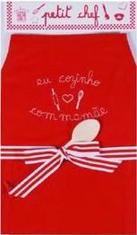 Avental - Eu Cozinho com Mamãe - bordado - P - vermelho e branco - A de Aurélia