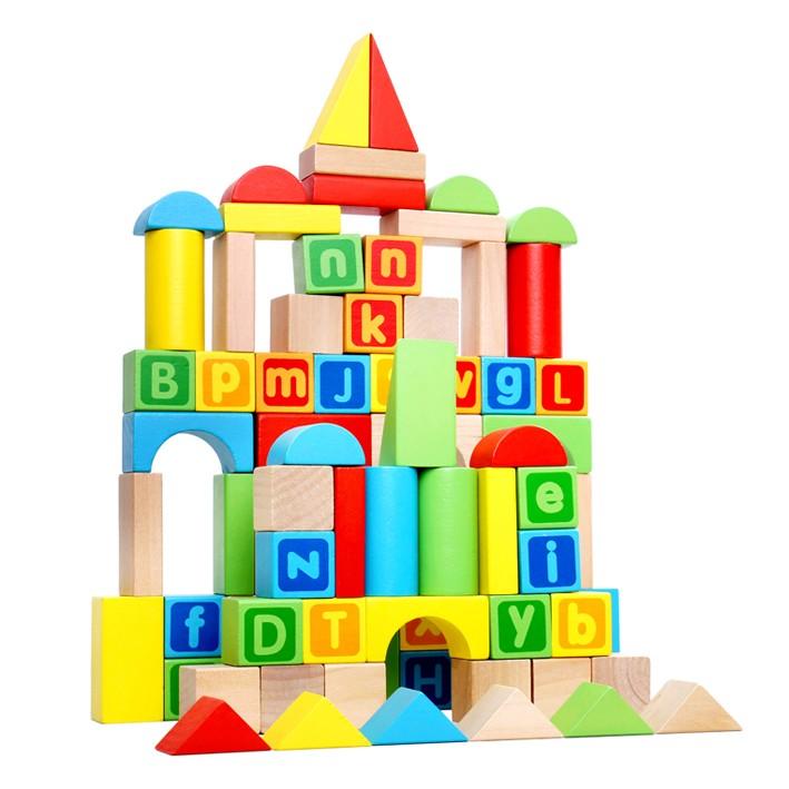 Blocos de Madeira para Construção 80 Peças - Brinquedo de madeira - Tooky Toy