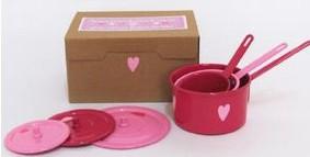 Caixa com 3 Panelas com Tampas - Rosa e Pink - A de Aurélia
