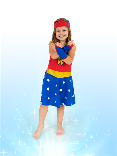 Camisola Mulher Maravilha - Brilha no Escuro -  8 anos - Lé com Cré
