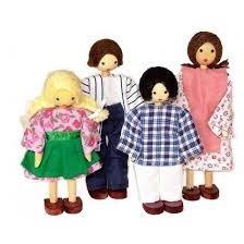 Kit Familia com 4 bonecos de madeira - BOHNEY