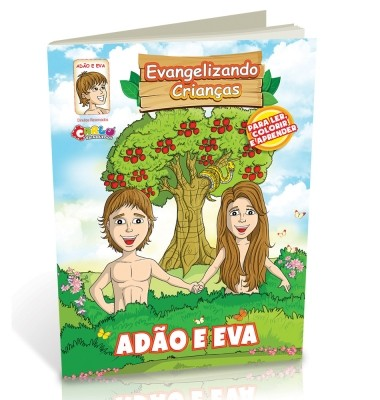 Livro Religioso para Colorir - Adão e Eva - Carlu