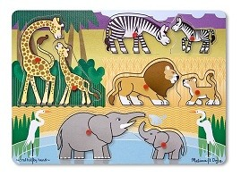 Quebra Cabeça com pinos - Safari - Mamãe e filhote - Melissa & Doug