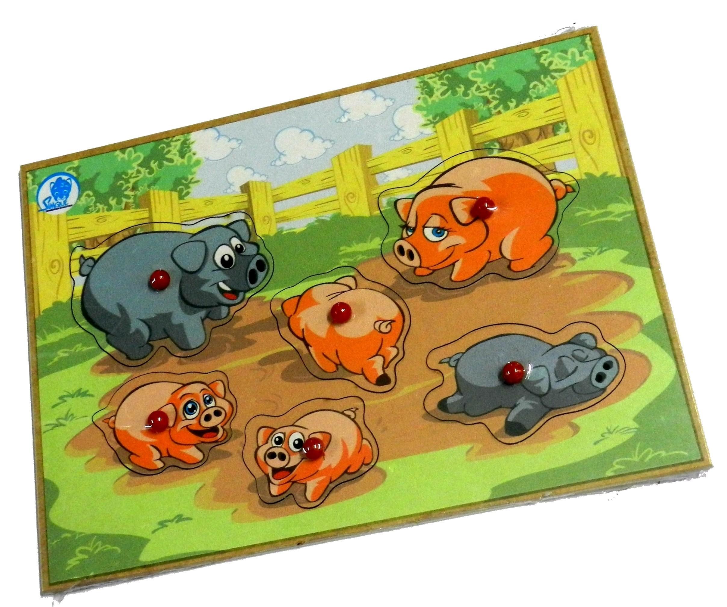 Quebra-Cabeça Animais e Seus Filhotes com Pinos - Porco - Simque