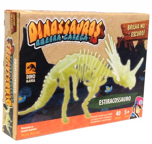 Quebra cabeça 3D Dinossauro Brontossauro - Brilha no Escuro  - Bate Bumbo