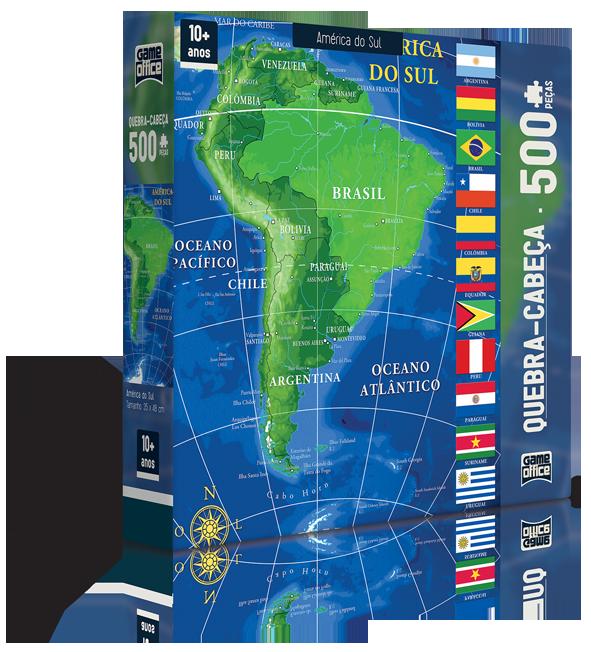 Quebra Cabeça 500 peças - Mapa América do Sul -  Game Office - Toyster