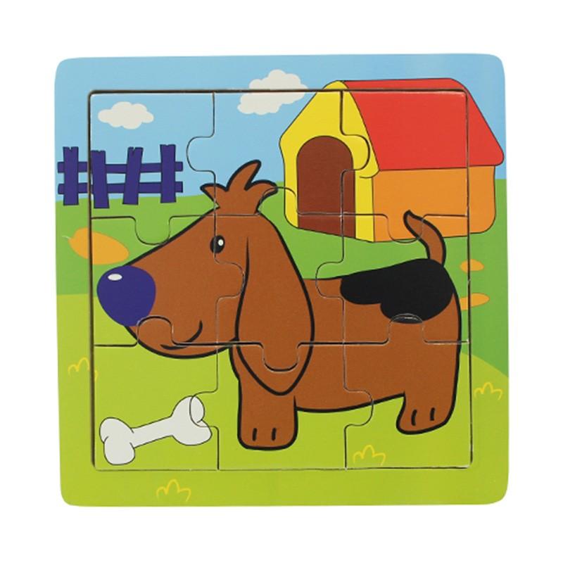 Quebra Cabeça de madeira Cachorro com 9 peças - Dican