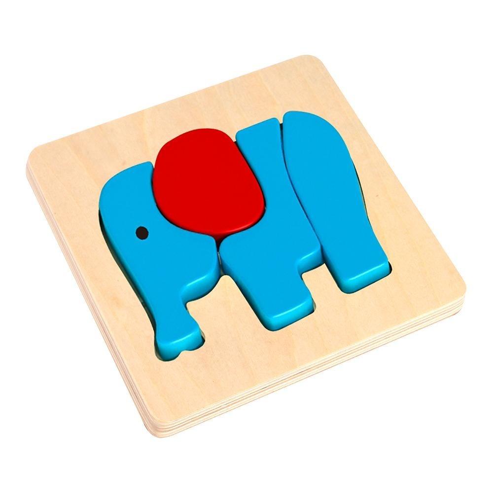 Quebra cabeça de Encaixe - Elefante - Brinquedo de madeira - Tooky Toy