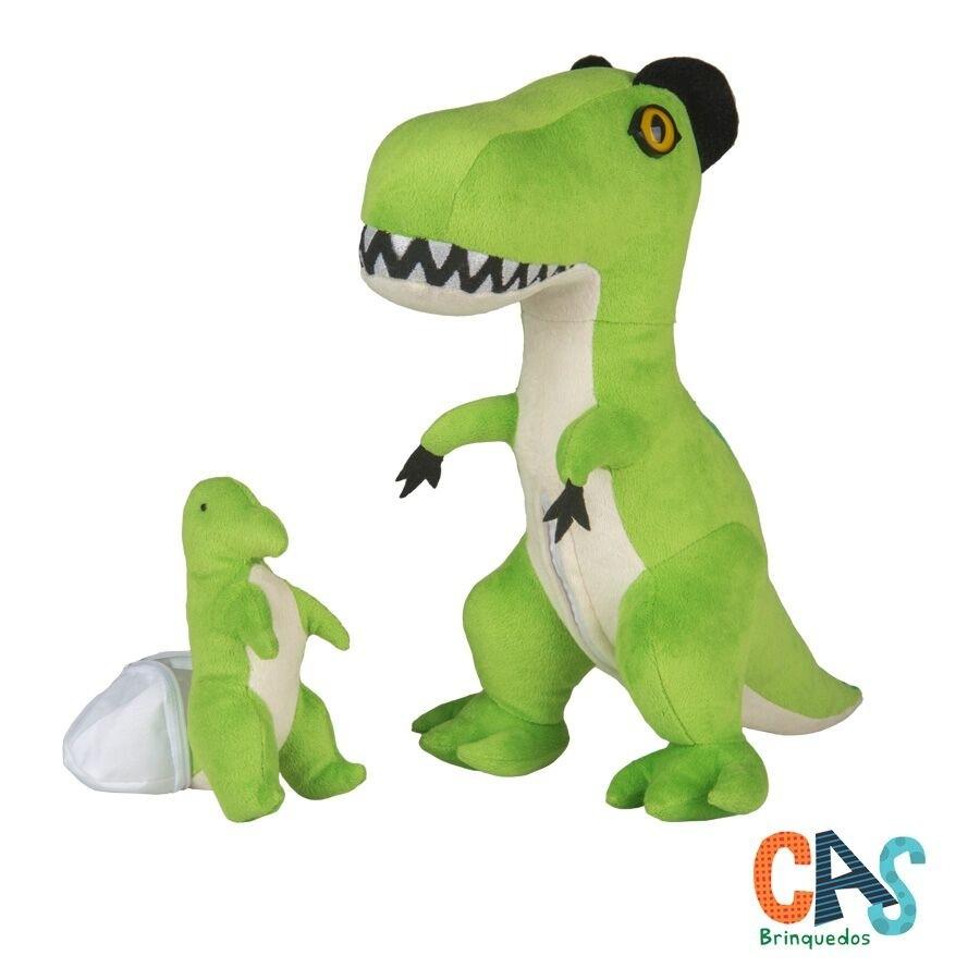 Tiranossaura Rex grávida com filhote - Dinossauro de Pelúcia - CAS - Bichos de pano