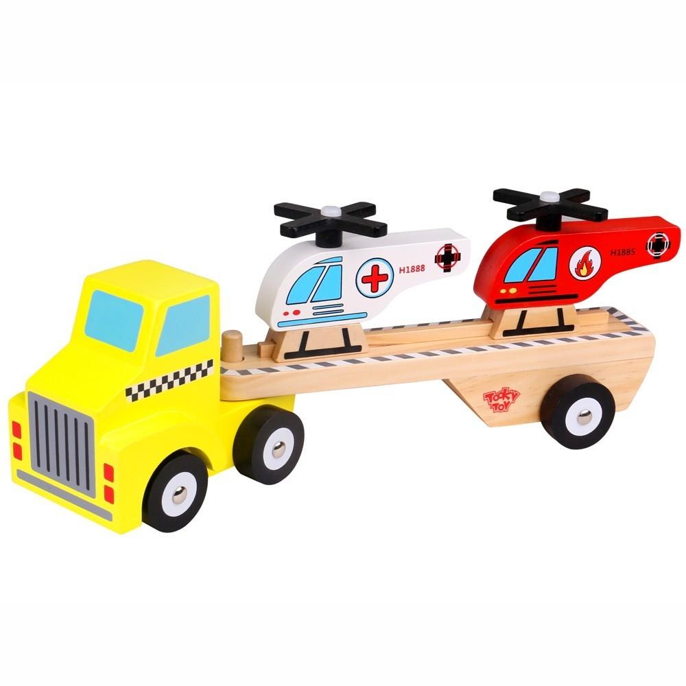 Brinquedo Caminhão de Madeira - Helicopteros - Tooky Toy