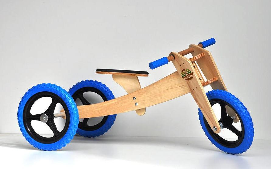 WoodBike - Bicicleta de Madeira - 3 estágios - AZUL