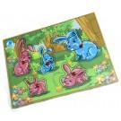 Quebra-Cabeça Animais e Seus Filhotes com Pinos - Coelho - Simque