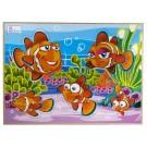 Quebra-Cabeça Animais e Seus Filhotes com Pinos - Peixe - Simque