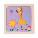 Quebra Cabeça de madeira  Girafa com 4 peças - Dican
