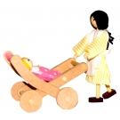 Carrinho de Bebê com babá - Brinquedo de madeira - Bohney