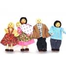 Kit Familia com Bebê - 5 bonecos de madeira - BOHNEY